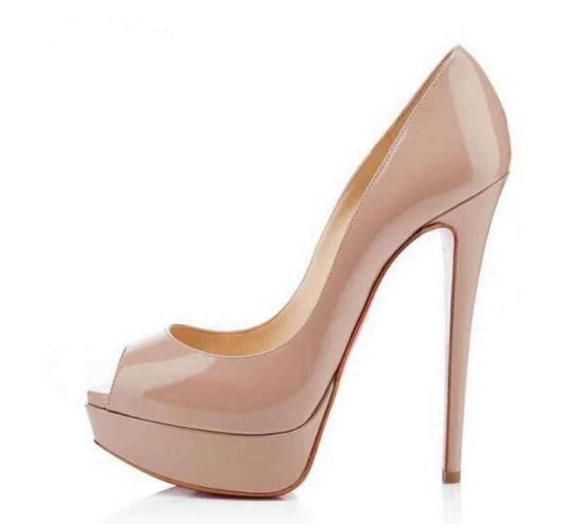 High Quality <font><b>Women</b></font> Fashion Open Toe Patent Leather High Platform Pumps 14cm <font><b>Sexy</b></font> High Heels Formal Dress <font><b>Shoes</b></font> Black Nude <font><b>Shoes</b></font> image