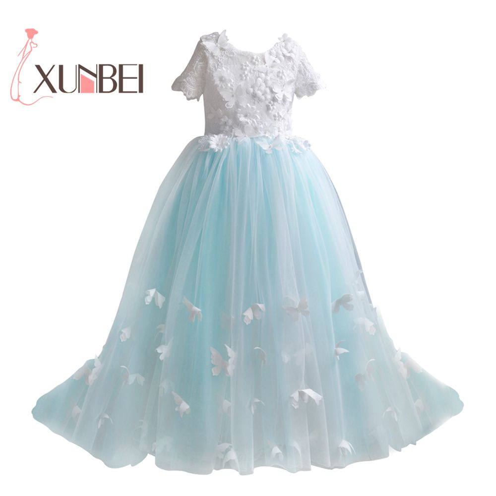 Princess Butterfly   Flower     Girl     Dresses   2018 Shot Sleeves   Girls   Pageant   Dresses   First Communion   Dresses   Evening Party   Dress