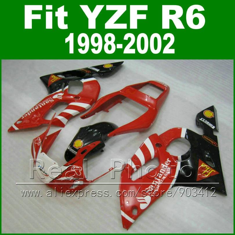 High Quaity Plastic parts for YAMAHA R6 fairing kit 98-02 Red  YZF R6 fairings1998 1999 2000 2001 2002 bodywork