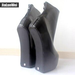 Image 4 - Jialuowei 20cm גבוהה העקב 5cm פלטפורמה סקסי פטיש ללא עקבי מוזר סגנון בלעדי ponying העקב חזרה zip אופנה קרסול מגפי בלט