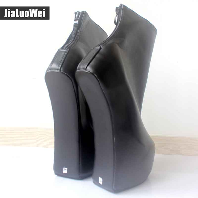 jialuowei 20cm High Heel 5cm Platform Sexy Fetish Heelless strange style Sole ponying Heel Back zip Fashion Ankle Ballet Boots