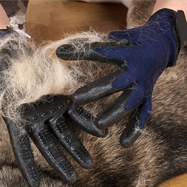1 Pair Grooming Glove for Cats Soft Rubber Pet Hair Remover Dog Horse Cat Shedding Bathing Massage Brush Clean Comb for Animals 4