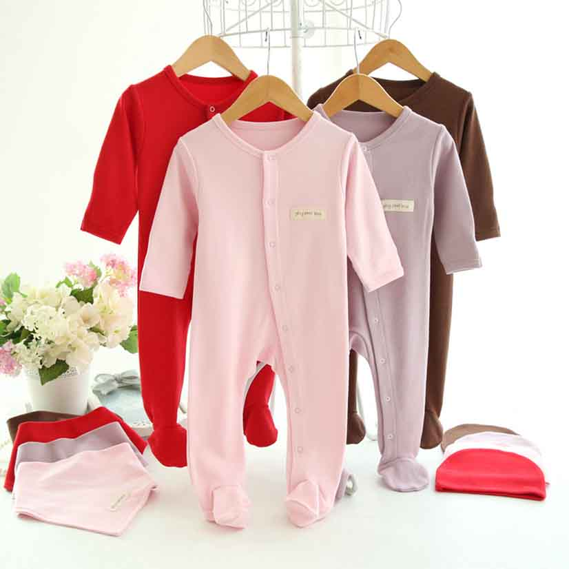 100 Cotton Brand Unisex Newborn Baby Rompers Long Sleeve Babies Clothing Rompers For Baby Boys Girls Suit 3 pieces bibs and hat baby rompers love mama papa boys girls babies clothes newbron cotton clothing with hat one pieces body suit