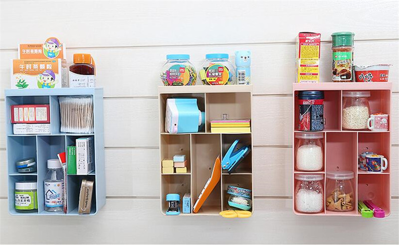 Sucker Wall Storage Rack Holder Multifunction Hanging Wall Cabinet for Kitchen Bathroom Makeup Storage Organizer Home Racks Box-in Storage Holders \u0026 Racks ... & Sucker Wall Storage Rack Holder Multifunction Hanging Wall Cabinet ...