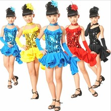 Free Shipping 4 Colors Children Latin Dance Dresses for Girls Kids Sequin Samba Salsa Tango Ballroom Dancing Clothes Costumes
