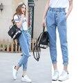 Estilo Preppy Otoño Correa Extraíble Harem Pantalones Vaqueros de los Guardapolvos 2016 Mujer Plus Tamaño Longitud Del Tobillo de Las Mujeres de Cintura Elástica y Puños Jeans