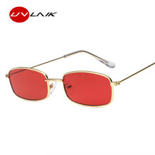 UVLAIK Metal dos óculos de Sol Das Mulheres Dos Homens Retro Quadrado  Pequeno Óculos de Sol Feminino Óculos Pequeno Quadro Shade. b6e3ad5562