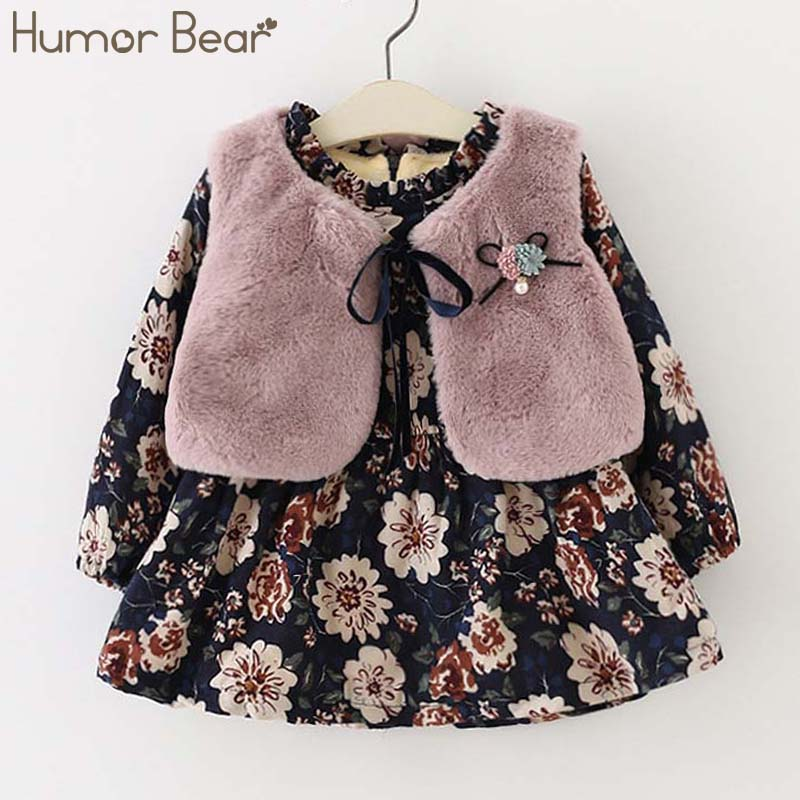 Humor Bear 2018 Fall Winter Wear Baby Girls Princess Dress Velvet Long-sleeve Dress Party Dresses Baby Clothes Baby Clothing