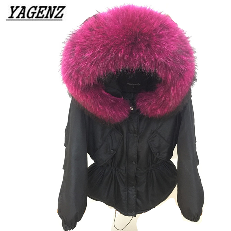 2017 Winter Women Hooded Coats Raccoon Big fur collar Loose Down cotton Outerwear Warm Female Jacket Casual Jacket Lady Clothing winter cotton jacket hooded coats women clothing down cotton parkas lady overcoat plus size medium long solid warm jacket female