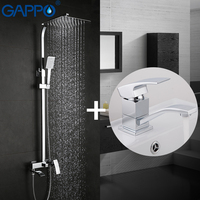 GAPPO Wall Mounted Shower Seats Bathroom Shower Faucet Set Bathtub Faucet Mixer Tap Waterfall Wall Shower