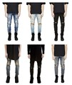 Mens Skinny jeans men 2016 Runway kanye west denim Distressed slim elastic jeans denim Biker jeans hiphop pants Washed jeans