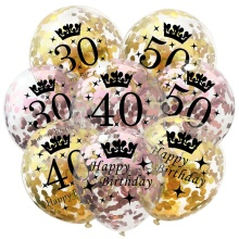 5PCS 12inch Latex sequins Number 30th 40th 50th Printed Anniversary Happy Birthday Balloon Wedding Valentine Day Party Supplies