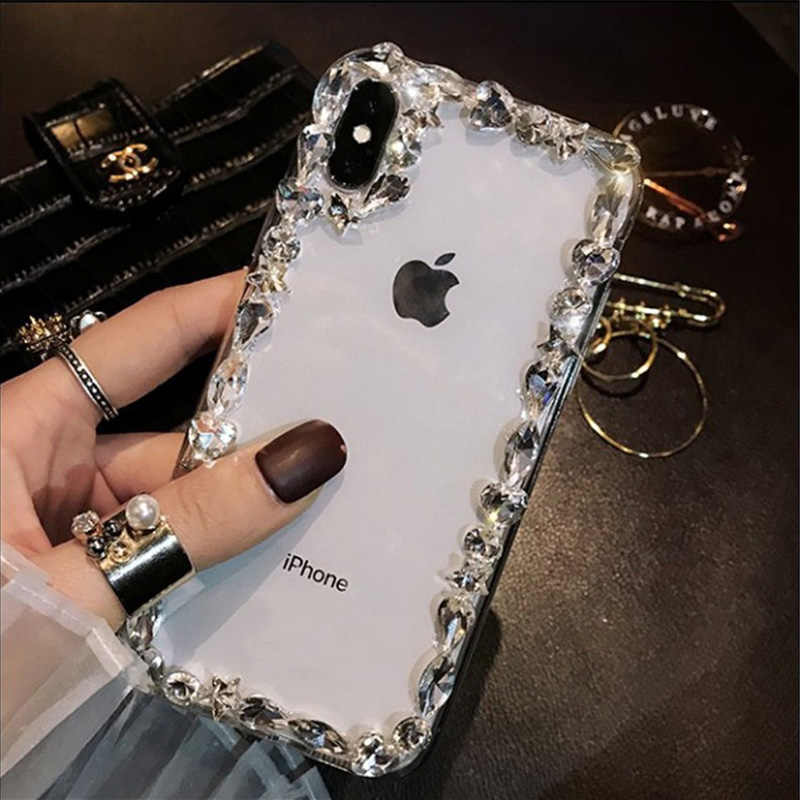 outlet store 6772e 01dcd Bling Diamond Phone Cases For iPhone 8 7 6 6S Plus X XS MAX XR Clear  Transparent Luxury Cover Case For iPhone XS MAX,No Strap