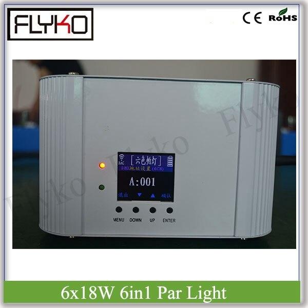 Battery flat light with 6pcs 18W 6 in 1 color leds Wireless & IRC Par can RGBWA+UV par light led flat par light