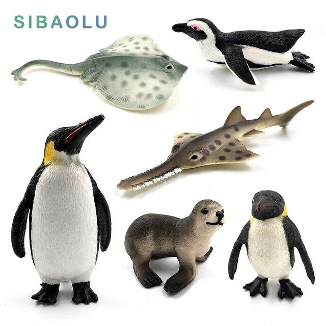 Simulation miniature Sea fish Penguin Sea Lion Fish Skate Sawfish animals model fairy craft figurine Aquarium home decor toys 1