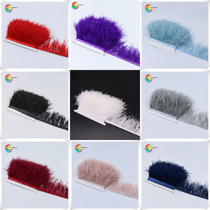 1meter 32 colors Natural ostrich feather Trimming height 8-10cm feathers ribbon for DIY wedding party dress decoration craft(China)