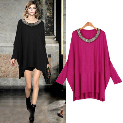 2018 Casual Summer Dress solid Batwing Sleeve Women Clothing for Fat MM  Loose O-Neck e798c8ccd948