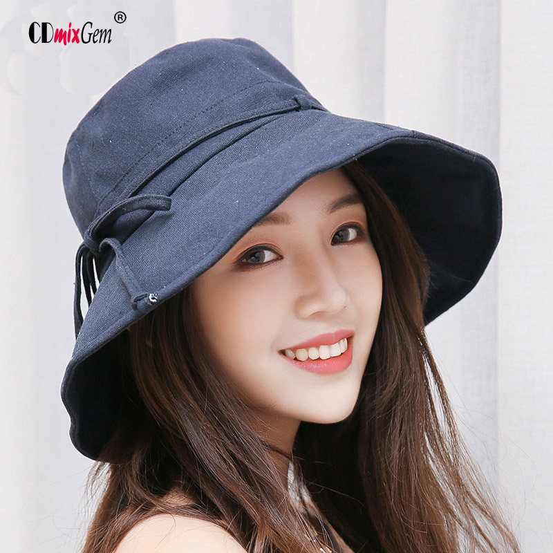 Summer Women s Beach Caps Fisherman s monochrome tether cotton linen hat  foldable skull cap outdoor sun protection b2dfb8b6ac6e