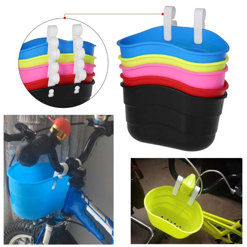 Bicycle Basket Children Bike Front Handlebar Carrier Scooter Saddlebag Plastic