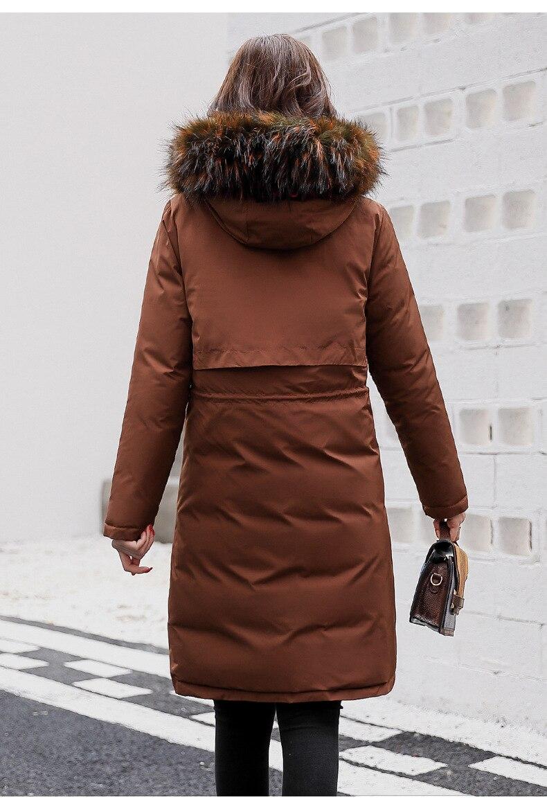 Deux marron Grand Version 2018 D'hiver De Fourrure Manteau Coton Longue Section marine face rouge La Noir gris Femmes Veste Hiver Bleu Coréenne Col 7Uxqgnqv