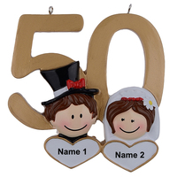 Personalized Hand Painted Diy Resin Craft Hanging 50th Golden Wedding Anniversary Souvenirs Gifts For Wedding Decoration