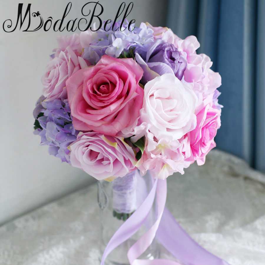 Online get cheap wedding bouquets purple aliexpress alibaba modabelle pink purple artificial wedding bouquets for brides roses lace handle wedding flowers bridal bouquets trouw dhlflorist Image collections