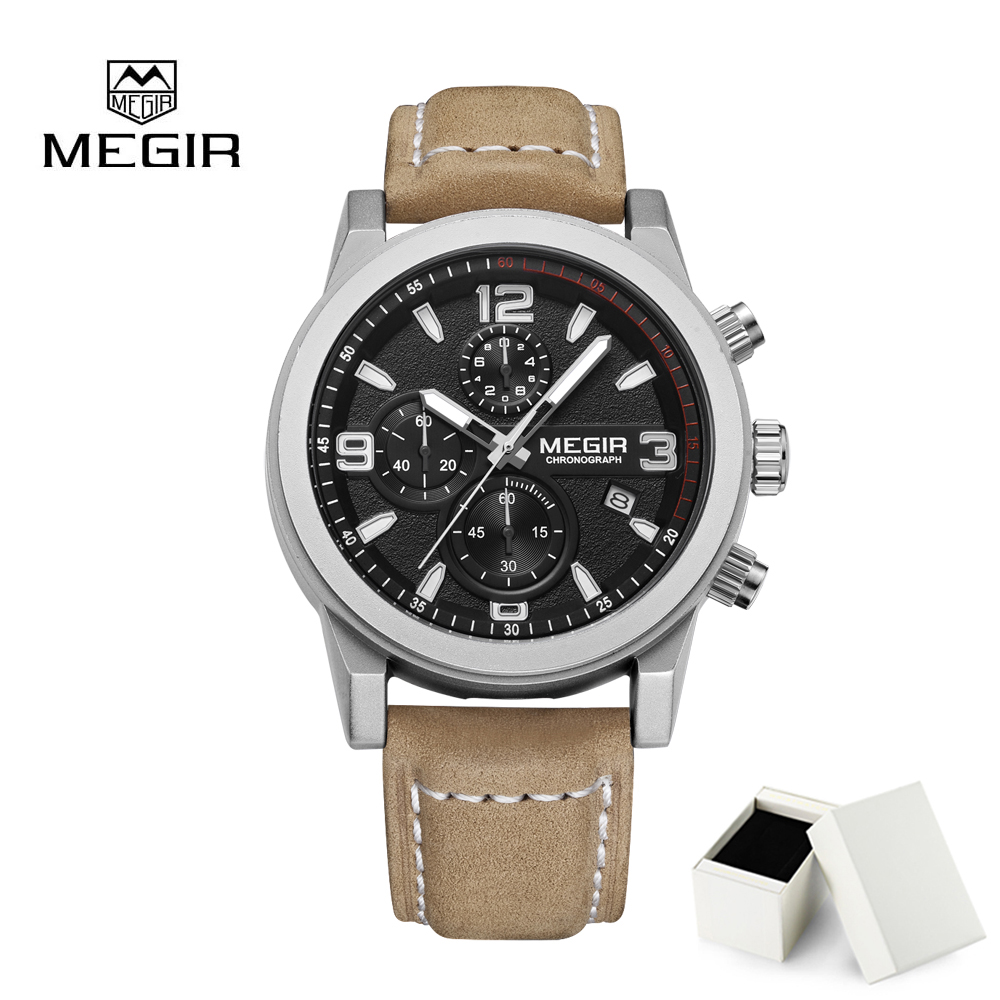 цена на Relogio Masculino Fashion Men Squartz Watch Megir Luxury Men watches Chronograph Waterproof Calendar Wristwatch Men Clock
