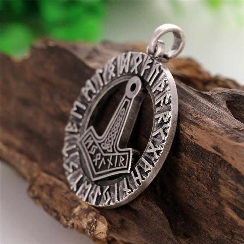 1 Búa của Thần Thor trong Rune Vòng Tròn Mặt Dây Chuyền Ireland Hải Lý/Giờ Viking Mjolnir Bùa Hộ Mệnh và Bùa Hộ Mệnh Mặt Dây Chuyền