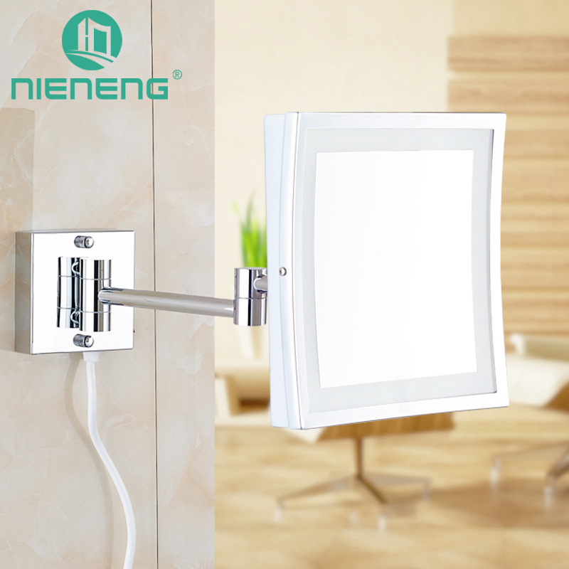 Nieneng Makeup Mirrors LED Wall Mounted Folding LED Light Mirror 3X Bath Mirror Make up Toilet Magnifying Mirror ICD60522 цена