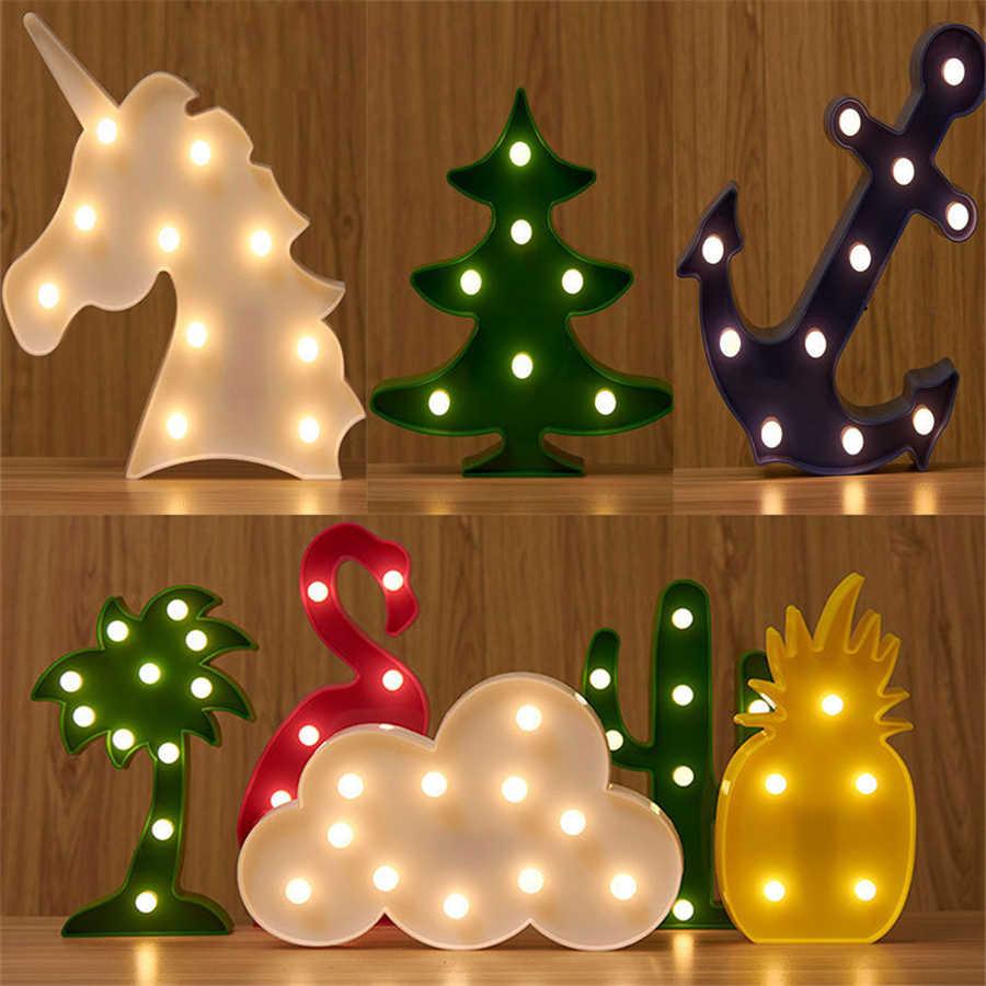 Светодиодный ночник Единорог медведь декоративная со светодиодами батарея настольная ночник для детская спальня Свадьба День Рождения украшения для дома вечеринки