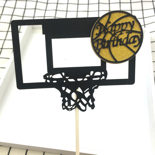 Happy Birthday Basketball Cupcake Cake Toppers Art Door Cake Flags