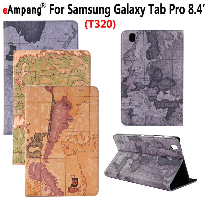 Map Leather Case for Samsung Galaxy Tab Pro 8.4 inch T320 SM-T320 Smart Case Cover Funda Tablet Slim Flip Stand Card Slot Shell 360 rotary flip open pu case w stand for 10 5 samsung galaxy tab s t805 white