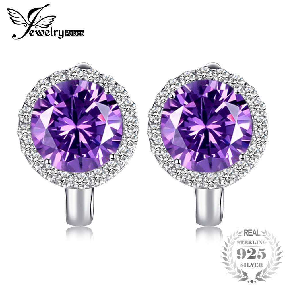 JewelryPalace Luxury 6.1ct Created Alexandrite Sapphire Clip Earrings 925 Sterling Silver Charms Brand Fine Jewelry For Women jewelrypalace new 1 3ct pear created alexandrite sapphire water drop earrings 925 sterling silver fashion fine jewelry for women