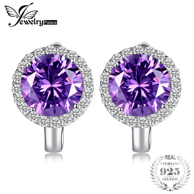 Jewelrypalace Luxury 6 1ct Created Alexandrite Shire Clip Earrings 925 Sterling Silver Charms Brand Fine Jewelry