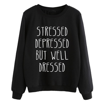 STRESSED DEPRESSED BUT WELL DRESSED 2019 Fashion Autumn Hoodies Lady tracksuit Hooded Letter Print Women pullovers Sweatshirt
