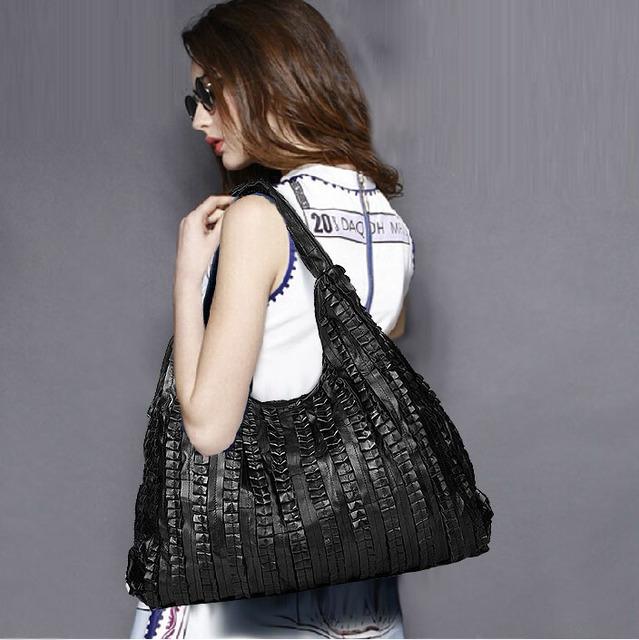 Sheepskin splicing Women's Shoulder bag large ladies handbag Genuine leather Hobos bag black Women Handbags Totes messenger bags