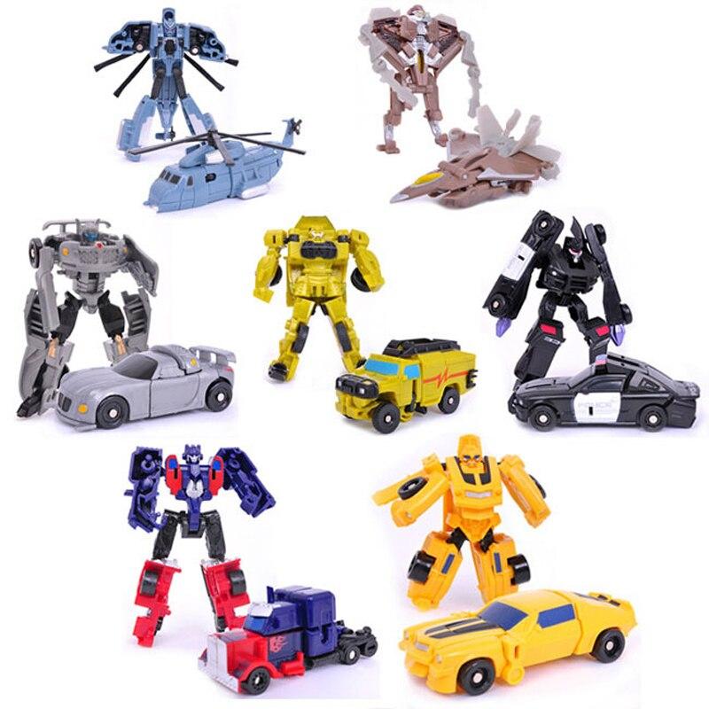 7 шт./лот трансформации Дети Классический робот автомобили фигурку игрушка супер герой Игрушечные лошадки для детей Brinquedos робот фигурки ...