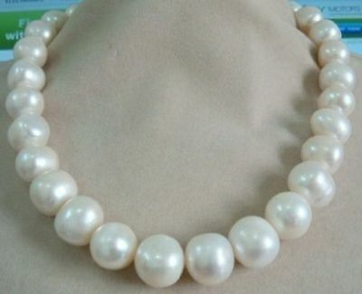 huge 18 36 AAA 15-12 MM NATURAL White PEARL NECKLACE YELLOW CLASPhuge 18 36 AAA 15-12 MM NATURAL White PEARL NECKLACE YELLOW CLASP