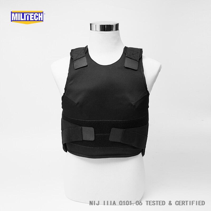 Militech Black Female NIJ IIIA 3A Concealable Twaron Aramid Bulletproof Vest Covert Ballistic Bullet Proof Vest