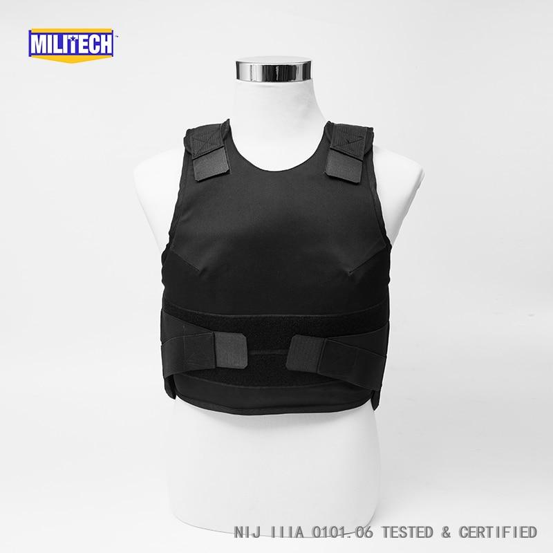 Militech Black Female NIJ IIIA 3A 0101.06 & NIJ 0101.07 HG2 Concealable Aramid Bulletproof Vest Covert Ballistic Body Armor Vest