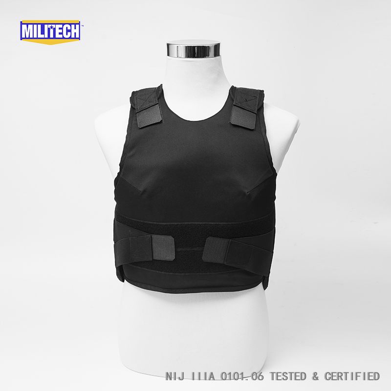 Militech Black Female NIJ IIIA 3A Concealable Twaron Aramid Bulletproof Vest Covert Ballistic Bullet Proof Vest Body Armor Vest bulletproof vest military tactical army concealable bullet proof bullet proof vest chaleco antibalas low profile body armor