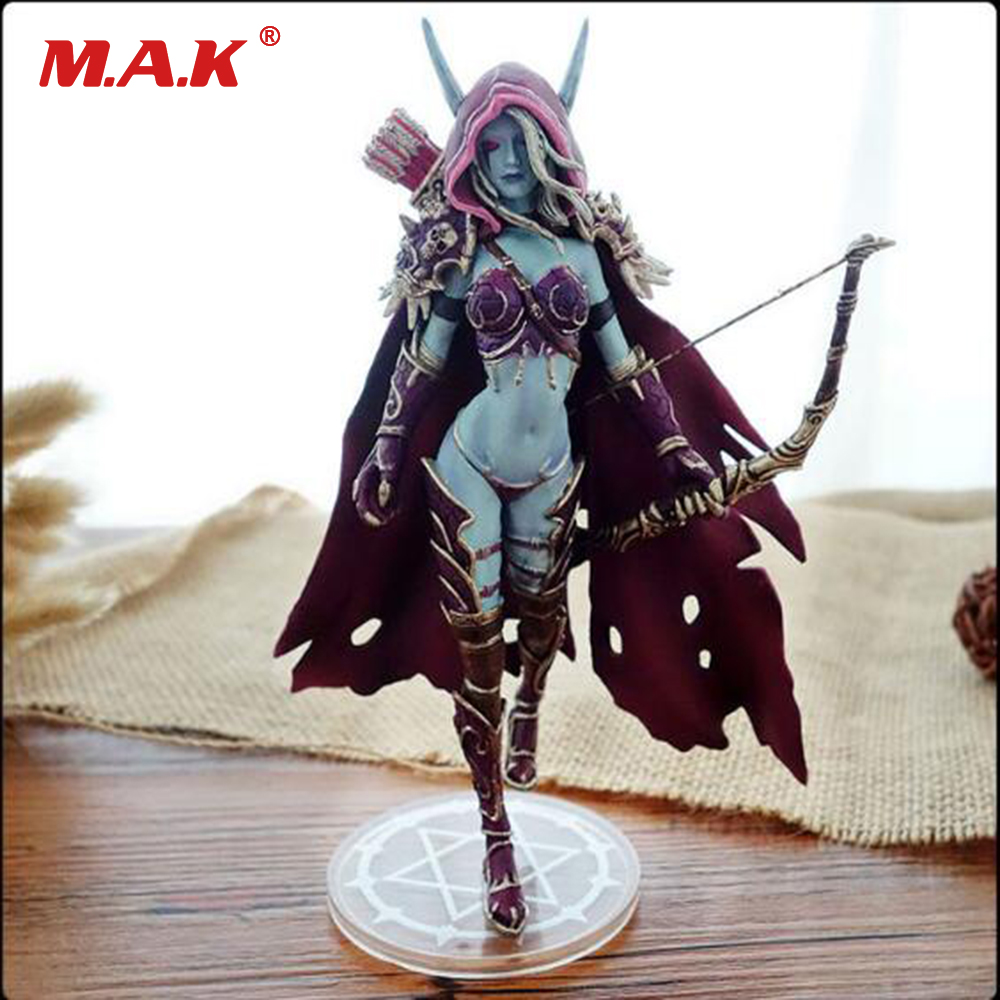 цена на Collectible Toys 7'' WOW Sylvanas Windrunner Archery Queen PVC Anime Action Figure Model With Base for Children Birthday Gift