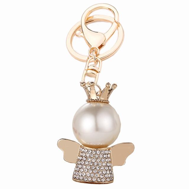 LLavero de Ángel de la Corona de cristal bolso creativo llavero anillo soporte para mujeres monedero encanto regalo novedad llavero colgante R166