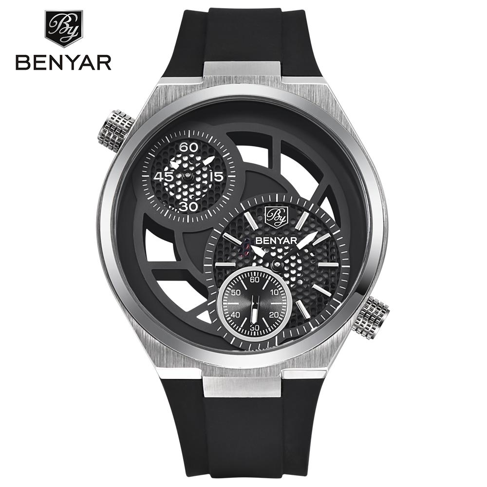BENYAR Fashion Hollow Sports Military Watches Men Big Dial Design Dual Time Zone Mens Quartz-Watch Relogio Masculino BY-1607 2017 new men digital sports military watch electronic dual time zone waterproof army watch relogio masculino relogio militar