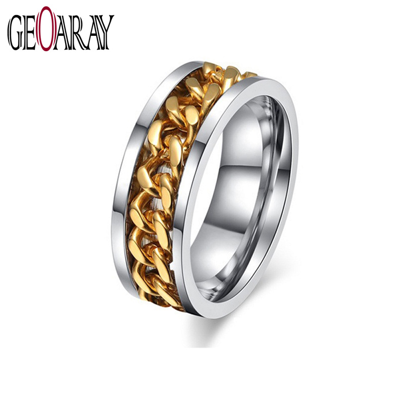 Gold Spinner Chain Charm Ring Men Jewellry Stainless Steel Fashion Anel Masculino Large Size ...
