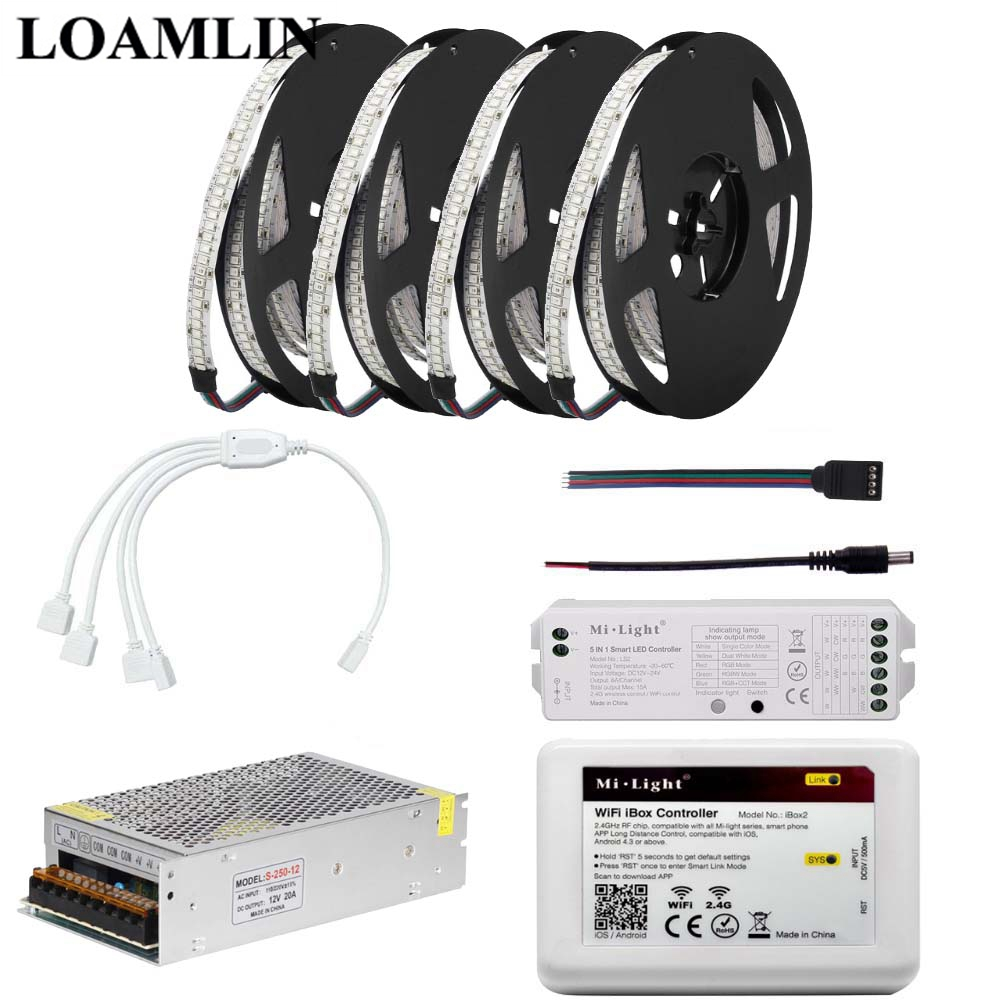 2835SMD 234Leds/m RGB Led Strip Light With Milight 2.4G WIFI IBOX LS2 RGB Led Controller DC12V Power Supply Kit 5M 10M 15M 20M good group diy kit led display include p8 smd3in1 30pcs led modules 1 pcs rgb led controller 4 pcs led power supply