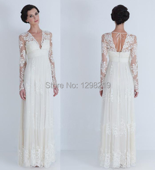2014 newest bohemian empire pregant maternity v neck lace for Long sleeve lace maternity wedding dress