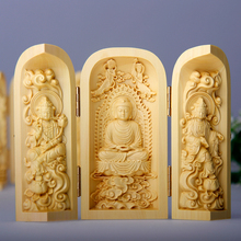 Hand engraving Artwork Boxwood carving Buddha three open box car decoration crafts Fokan hand Guanyin fukurokuju Sam package mai