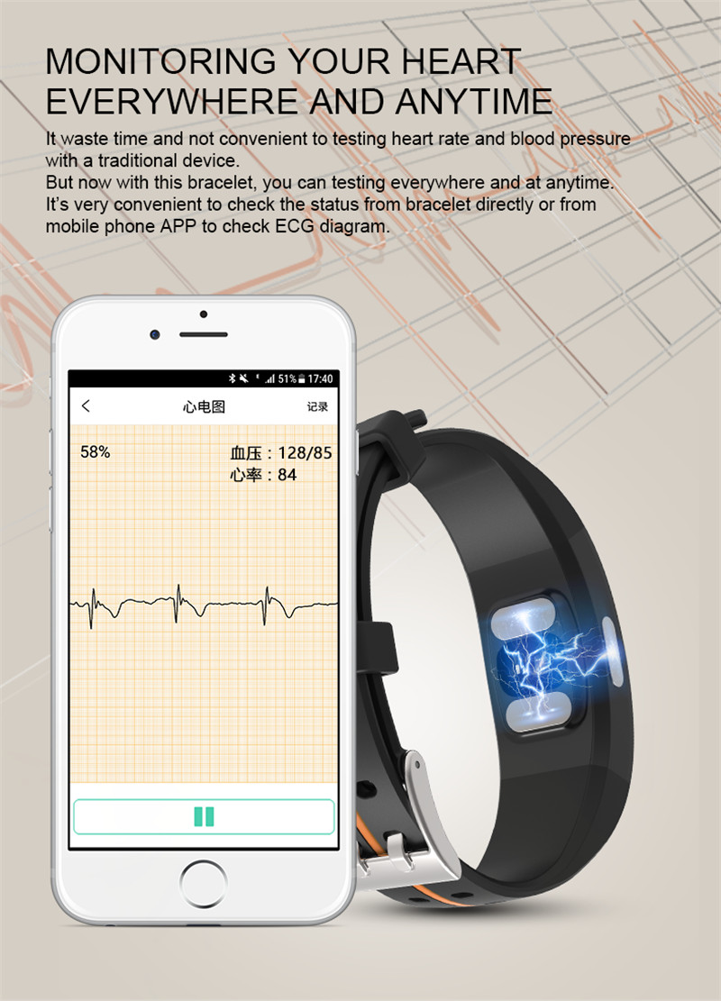P3 ECG PPG Smart Band Watch Bracelet