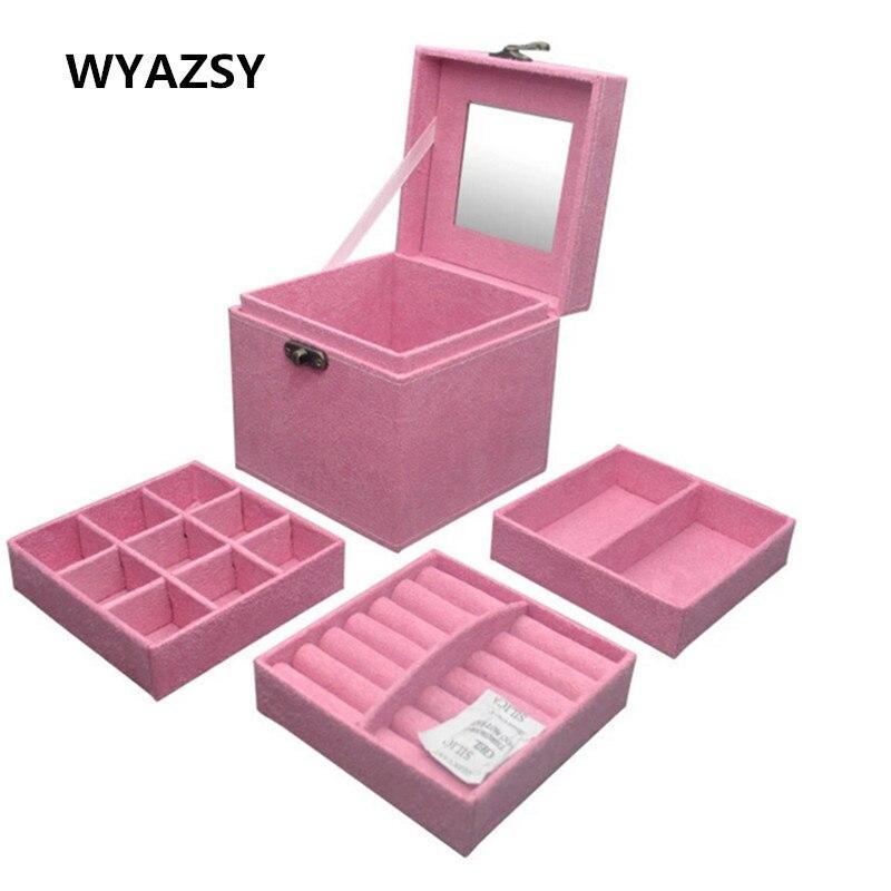 Fashionable Flannelette Jewelry Box Classic Princess Flannelette Three Layers Creative Receive Gift Box Small Accessories Box